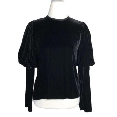 Georgia Alice Puff Sleeve Top Black Velvet Blouse