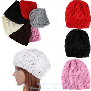 2d5a3b81e7c New Unisex Womens Mens Winter Warm Knit Beret Hat Beanie Crochet Ski ...