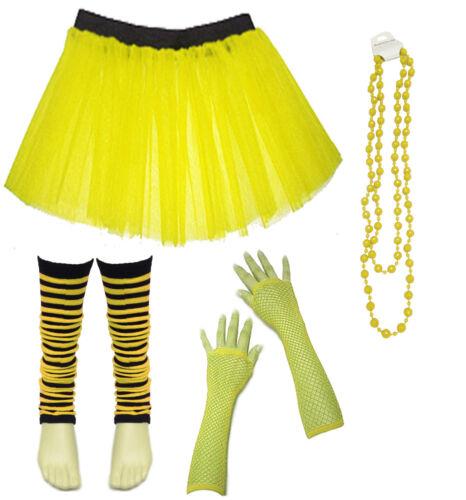 Kids Neon UV Tutu Skirt Gloves Striped Leg Warmers Fancy Dress Party Costume Set