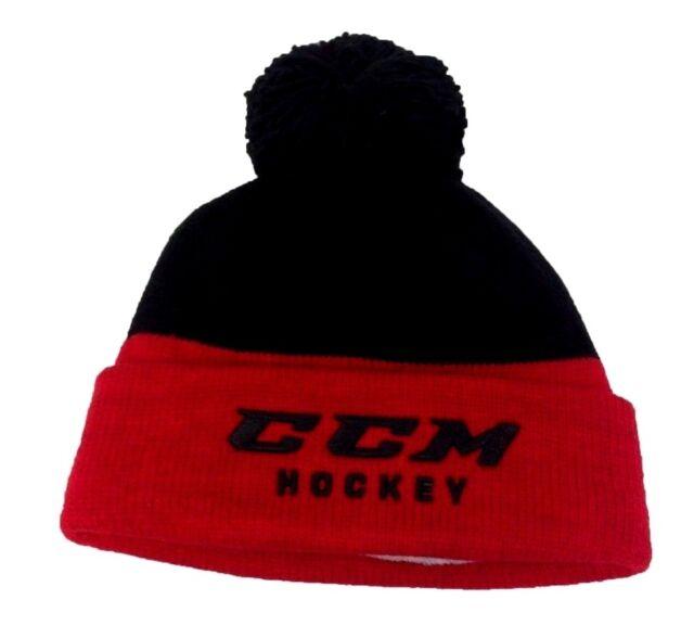 3d6a230fcbb Buy CCM Hockey Senior adult Black red Knit Pom Stocking Cap hat OSFM ...