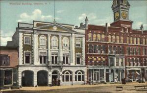 Oneonta-NY-Municipal-Bldg-Fire-Station-c1910-Unused-Postcard