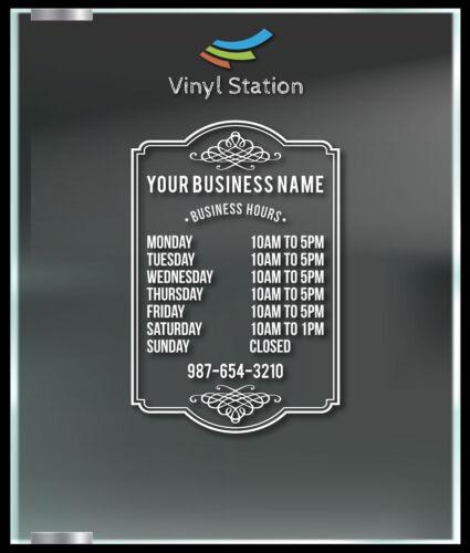 Custom Elegant Business Store Hours Window Decal Outdoor Sticker Sign Door
