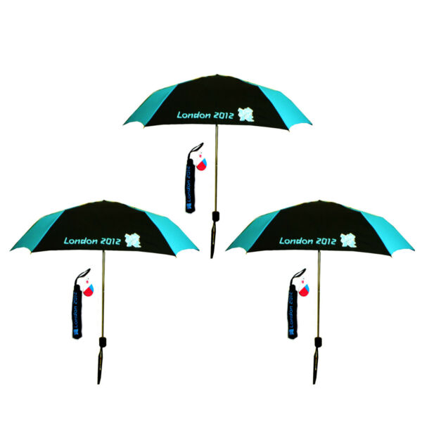 3x London Olímpico 2012 Negro Y Azul Paraguas Plegable Compacto-ver
