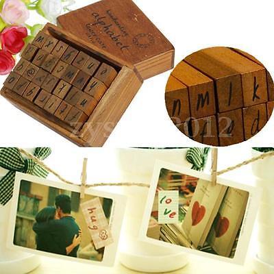 28pcs Letter Rubber Stamps Vintage Wood Alphabet Antique Wooden Box Set Craft