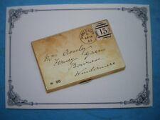 POSTCARD ROYAL MAIL ENAMEL REPLICA OF QUEEN VICTORIA 1D LILAC STAMP