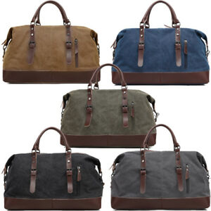 f369f577c6 Image is loading Men-Vintage-Retro-Canvas-Genuine-Leather-Travel-Duffle-