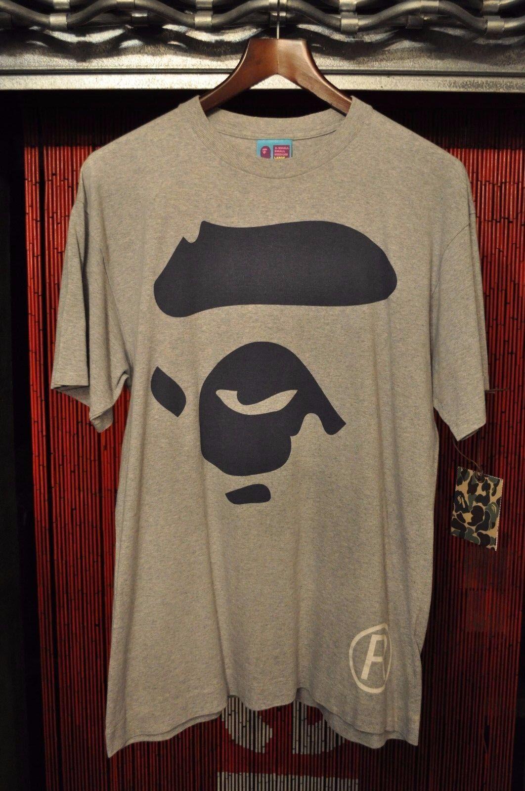 83e7897dd Bape A Bathing Ape Ape Face Grey Navy Nigo OG Shirt Large T L nbnkgz14740-T- Shirts