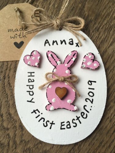 Personalized Baby First Easter Keepsake Plaque With Pink Bunny