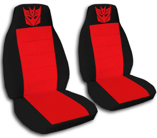 Decepticon Car Seat Covers in Red /& Black Velour Front Set