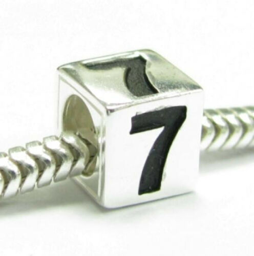 Sterling Silver chiffres DICE CUBE zéro à Neuf Perle De Charme Européen Bracelet
