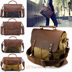 Vintage Style Men/'s Canvas Shoulder Casual School Military Messenger Travel Bag