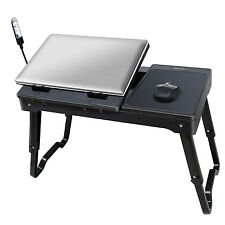 Foldable Laptop Table Tray Desk W Cooling Fan Tablet Stand Bed Sofa Couch