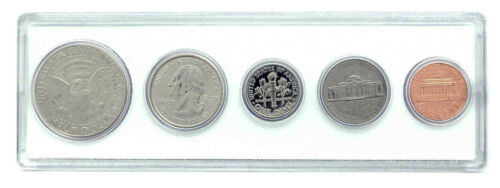 5 Coin Set 2002 Birth Year Coin Set in American Flag Holder