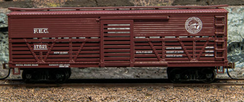 1-52101 HO 1880-1920/'s Cattle Car Florida East Coast 02 BoxCar Brown