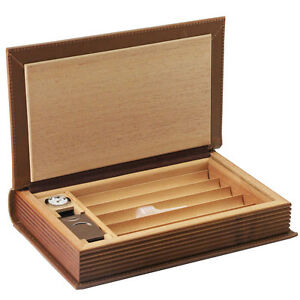 5 Count Brown Real Leather Cedar Book Style Travel Cigar Humidor W/ Cutter