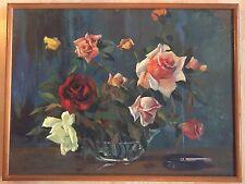 E.G. DELGADO Original Vintage Oil Painting On Board Roses and Cigarette