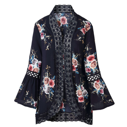 Outwear Women Long Sleeve Coat Cardigan Loose Jacket Lace Tops Blouse Top