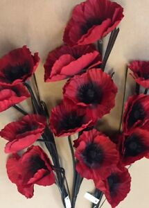 Artificial-Silk-Flowers-3-Stems-Of-Red-Poppies-Long-Stems-15-Heads-Total