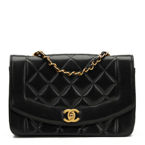 Image Is Loading Chanel Black Quilted Lambskin Vintage Small Diana Classic