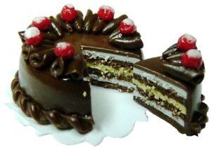 Dollhouse-Miniature-Chocolate-Caramel-Three-Layer-Cake-sliced-1-12-Scale