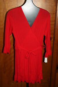 JOSIE-Natori-MADISON-Red-SHORT-WRAP-ROBE-Swim-COVERUP-Modal-MEDIUM-Belted-Ruffle