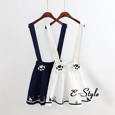 Women Lolita Cat Paw Embroidery Strap Mini Skirt Suspender Dress Kawaii Cosplay