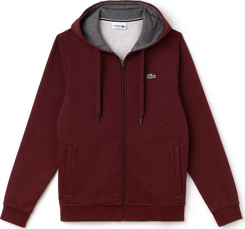Lacoste SH7609 SPORT Tennis hooded zippeROT sweatshirt Fleece - BNWT
