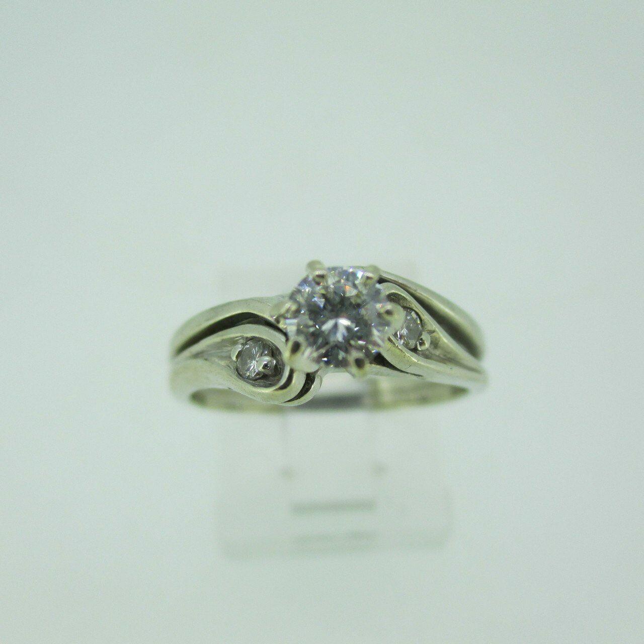 14k White gold Approx 1 3ct Round Brilliant Cut Diamond Wedding Ring Size  6