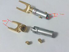 2PCS Gold Plated Screw Spade Banana Plug FOR 4mm Speaker Wire Cable