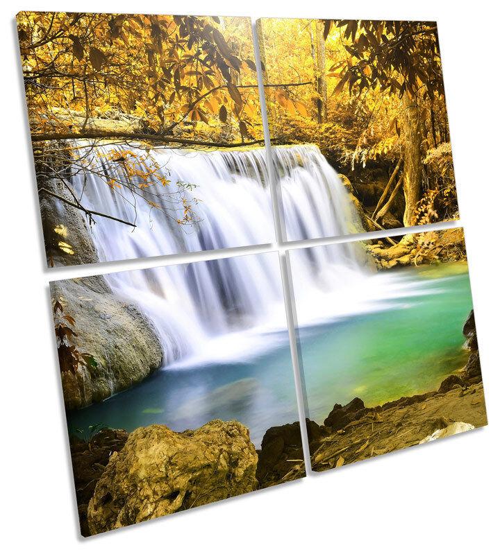 Forest Waterfall Sunset Landscape MULTI CANVAS Wand Kunst Square Bild