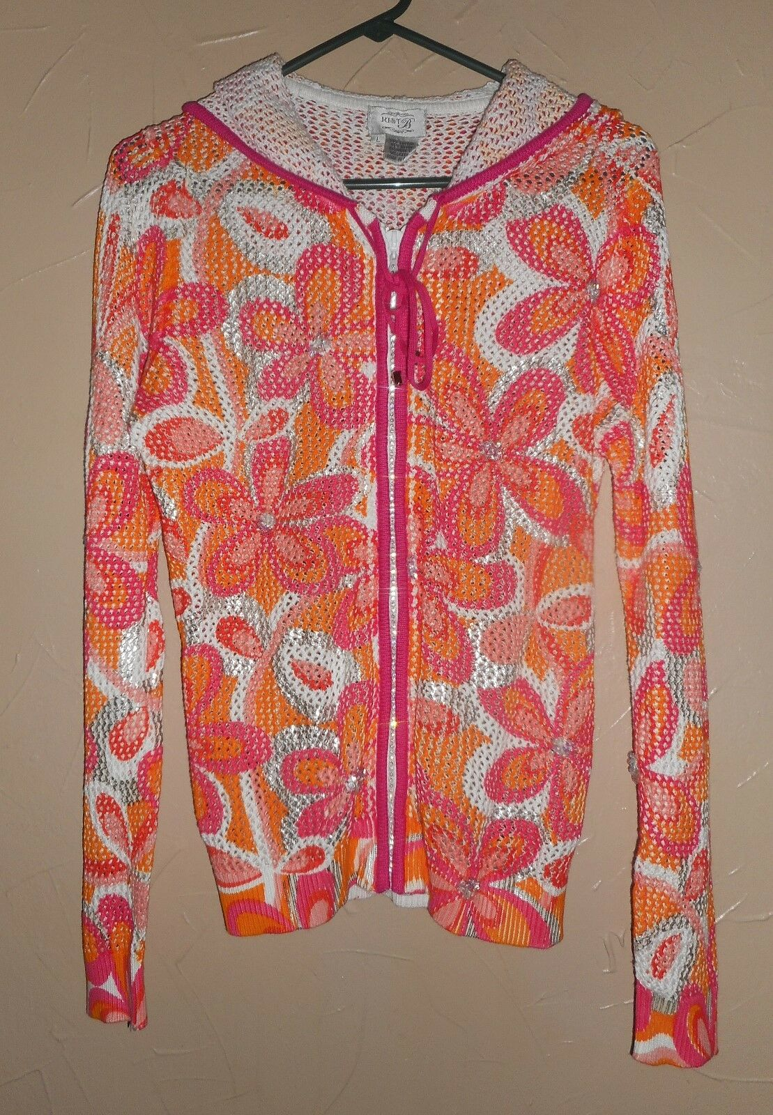 JUST B SEQUIN GLITTER RHINESTONES Floral CARDIGAN hoodie SWEATER, BEACH WRAP L