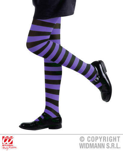 Girls Childs Purple Striped Tights Witch Fancy Dress Costume Accessory 1-14 Yrs