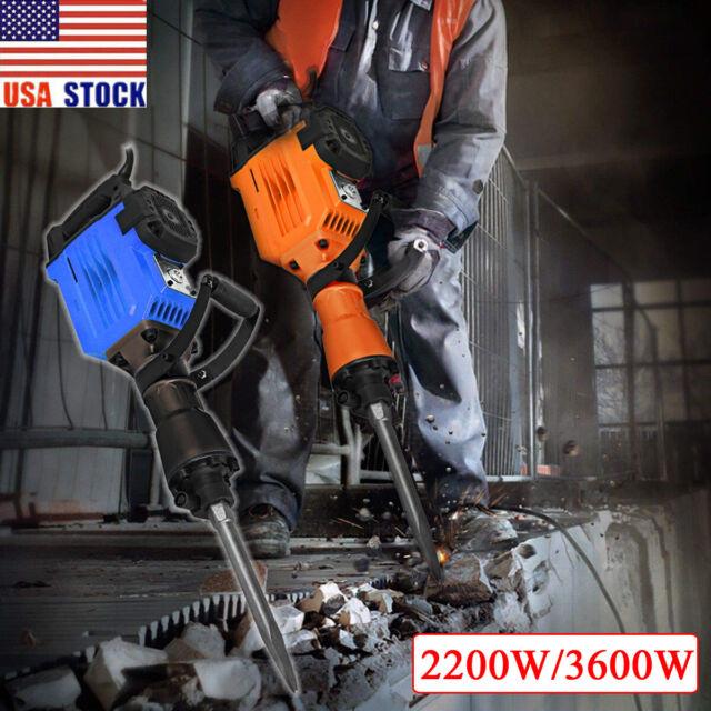 3600W Electric Demolition Jack Hammer Concrete Breaker 2 Chisel 1400RPM HD 60J