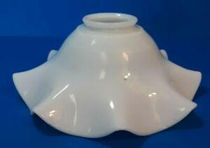 """Vintage Ruffled Edge Milk Glass Oil Lamp Chiminey Shade 2 1/4"""" Fitter     (L10)"""