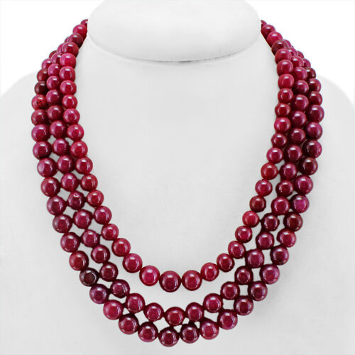 FINEST QUALITY EVER 814.00 CTS EARTH MINED 3 LINE RED RUBY ROUND BEADS NECKLACE