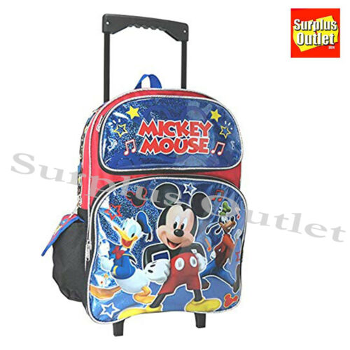 "NEW Disney Mickey Mouse and Friends Toddler 12/"" Rolling Backpack /& Lunch Bag Set"