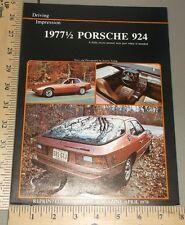 1977 1/2 Porsche 924 Brochure Folder Original USA Cars Magazine