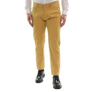 Pantaloni-Uomo-Slim-Fit-Cotone-Estivi-Senape-Elegante-Chino-Casual-Tasca-America
