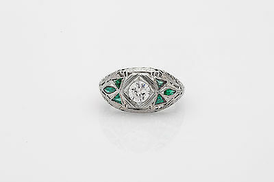 Antique 1920s 1.25ct Emerald VS I Old Euro Diamond 18k White Gold Filigree Ring