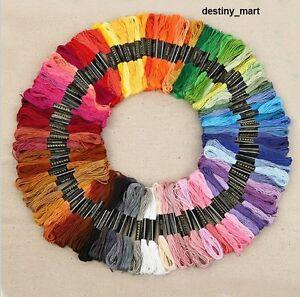 Neu-100-Docken-Sticktwist-Stickgarn-8m-6-faedig-Multicolor-BUNT-Sticken-UK