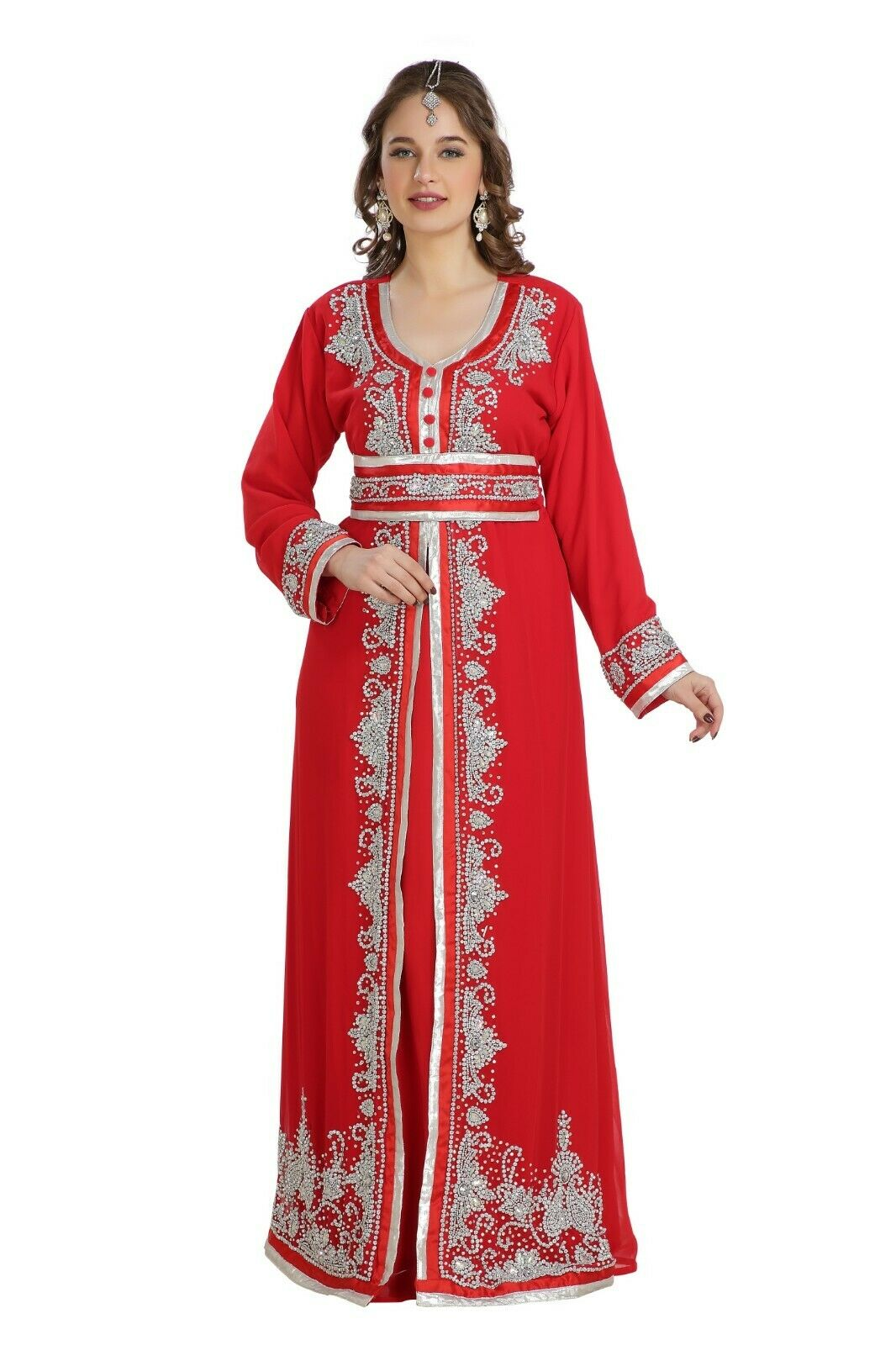 MOROCCAN PARTY DRESS TRADITIONAL KAFTAN FRENCH TAKCHITA LACE & EMBROIDERY 7827
