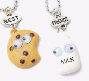 Chocolate chips cookie milk best friend pendants necklaces charm bff image is loading chocolate chips cookie milk best friend pendants necklaces aloadofball Gallery