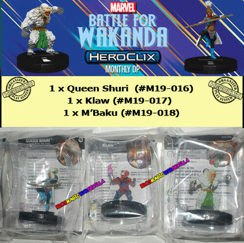 HEROCLIX MARVEL Battle for Wakanda OP Kit Queen Shuri Klaw M/'Baku NEW +Cards