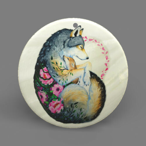Natural Ablone Shell Wolf Round Shape Pendant Necklace Jewelry  J1707 0036