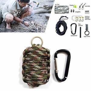 Survival-Kit-Paracord-Grenade-Fire-Starter-Camping-Gear-Kit-Fishing-Kit-CAMO-BA