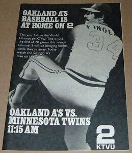Details about 1973 KTVU TV BASEBALL AD~OAKLAND A'S ROLLIE FINGERS~WORLD  SERIES CHAMPIONS
