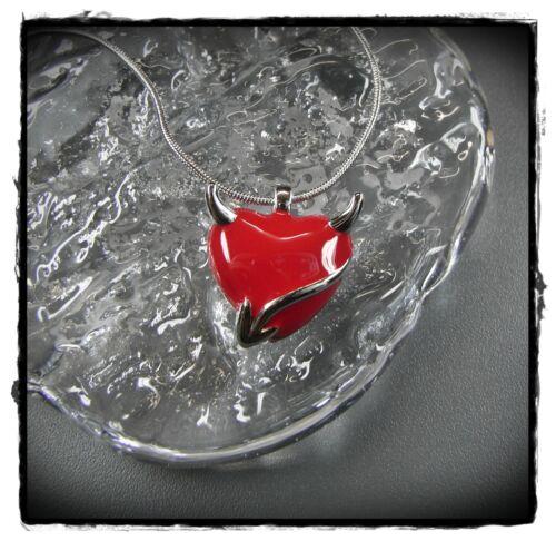 Nuevo 40cm+6cm collar corazón diablo en rojo//plata Collier cadena Satán Devil