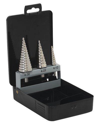 Metric Step Drill Set 3 Piece 4-30mm dia Sealey Clog Free Precision S0846