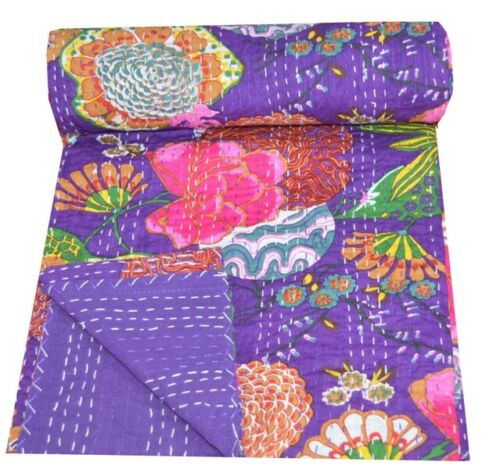 Indian Handmade Kantha Quilt Throw Floral /& Fruit Cotton Bedspread Twin Size