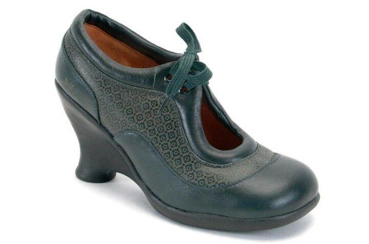John fluevog fluevog fluevog amigos  Tillie Cuña Zapatos Cuñas Tacones De Cuero verde 9  bienvenido a elegir